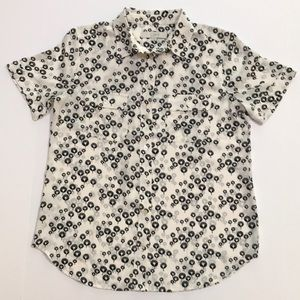 Loft black & white short sleeve top career blouse